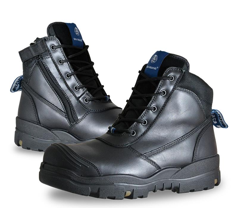 Image of Safety Boot Bata HORIZON Lace Up/Zip Side, Black
