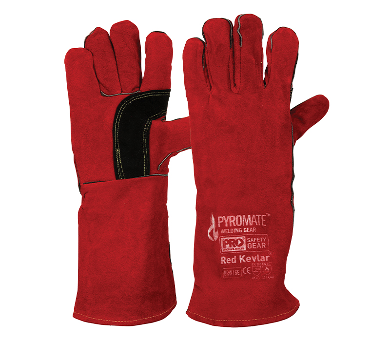 Red/Black Welding Gloves with Kevlar Stitching 40cm Length | Primary Image