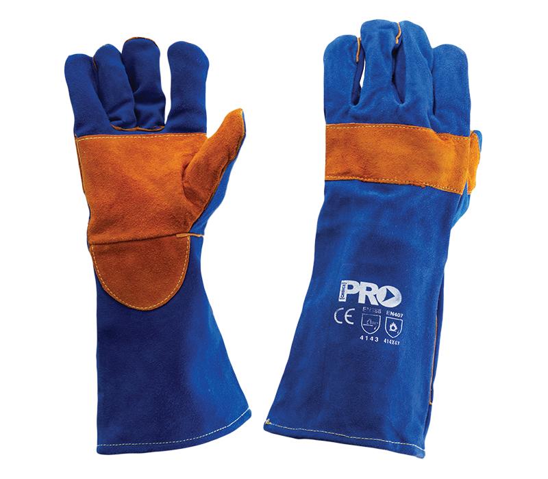 Blue/Gold Welding Gloves Kevlar Stitching 40cm Length | Primary Image